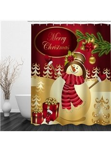 Cheerful Snowman Printing Christmas Theme Bathroom 3D Shower Curtain