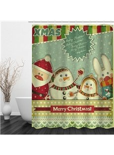 Clip Art Cute Santa and Rabbit Printing Christmas Theme Bathroom 3D Shower Curtain