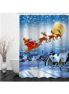 Santa Riding Reindeer Printing Christmas Theme Bathroom 3D Shower Curtain