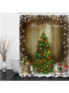 Vivid Christmas Tree Printing Bathroom 3D Shower Curtain