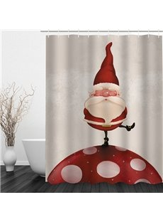 Santa Standing on Mushroom Printing Christmas Theme Bathroom 3D Shower Curtain