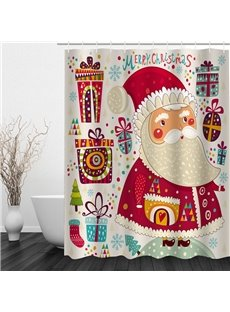 Cute Cartoon Santa Printing Christmas Theme Bathroom 3D Shower Curtain