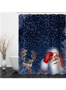 Santa and Reindeer Looking through the Window Printing Christmas Theme 3D Shower Curtain