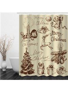 Hand Painted Christmas Theme Bathroom 3D Shower Curtain