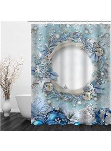 Mysterious Hole Printing Christmas Theme Bathroom 3D Shower Curtain