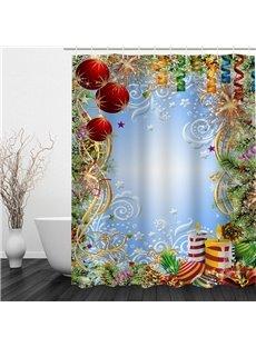 Clip Art Christmas Theme Decor Printing Bathroom 3D Shower Curtain