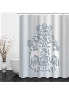 Emboss Reindeer Printing Christmas Theme Bathroom 3D Shower Curtain