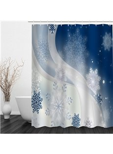 Delicate Snow-Flower Printing Christmas Theme Bathroom 3D Shower Curtain