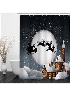 The Shadow of Flying Santa Printing Christmas Theme Bathroom 3D Shower Curtain