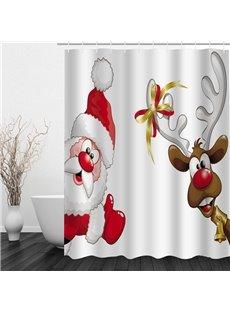Cartoon Cute Santa and Reindeer Printing Christmas Theme Bathroom 3D Shower Curtain