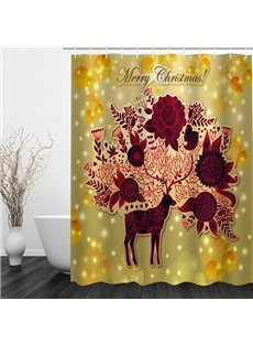 Creative Reindeer with Blooming Flowers Printing Christmas Theme Bathroom 3D Shower Curtain