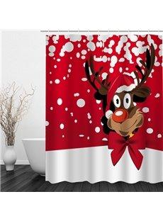 Cartoon Cute Reindeer Printing Christmas Theme Bathroom 3D Shower Curtain