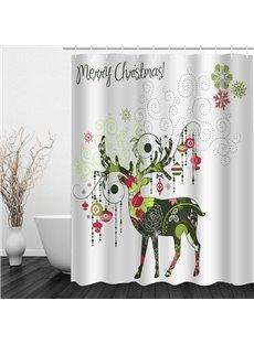 Creative Reindeer Printing Christmas Theme Bathroom 3D Shower Curtain