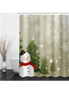 Cute Snowman with Red Scarf Printing Christmas Theme Bathroom 3D Shower Curtain