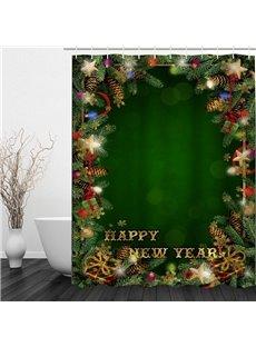Green Bathroom Decor Christmas Theme 3D Shower Curtain
