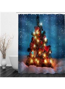 Sparkling Christmas Tree Printing Waterproof Bathroom 3D Shower Curtain