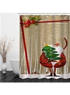 Funny Santa Holding Christmas Tree Printing Bathroom 3D Shower Curtain