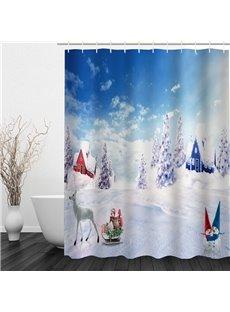 Dreamy Snowmen World Printing Christmas Theme Bathroom 3D Shower Curtain
