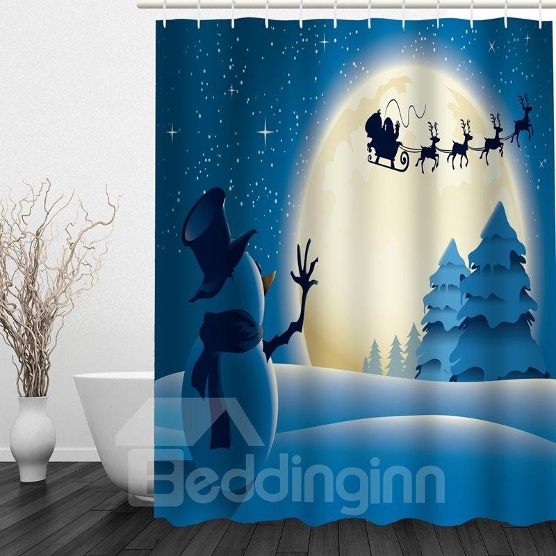 Snowman Waving To Santa Printing Christmas Theme Bathroom