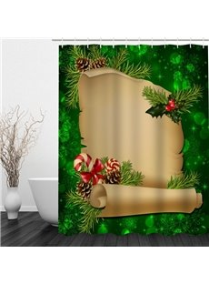 Cartoon Gift List Printing Christmas Theme Bathroom 3D Shower Curtain