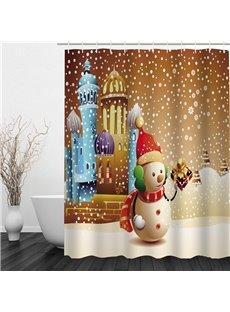 Cute Snowman Holding Gift Printing Christmas Theme Bathroom 3D Shower Curtain