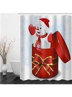 Snowman in the Gift Box Printing Christmas Theme Bathroom 3D Shower Curtain