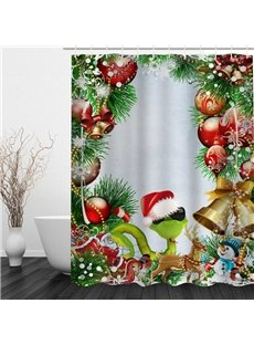 Cool Snake with Christmas Hat Printing Bathroom 3D Shower Curtain