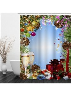 Fancy Dinner Printing Christmas Theme Bathroom 3D Shower Curtain