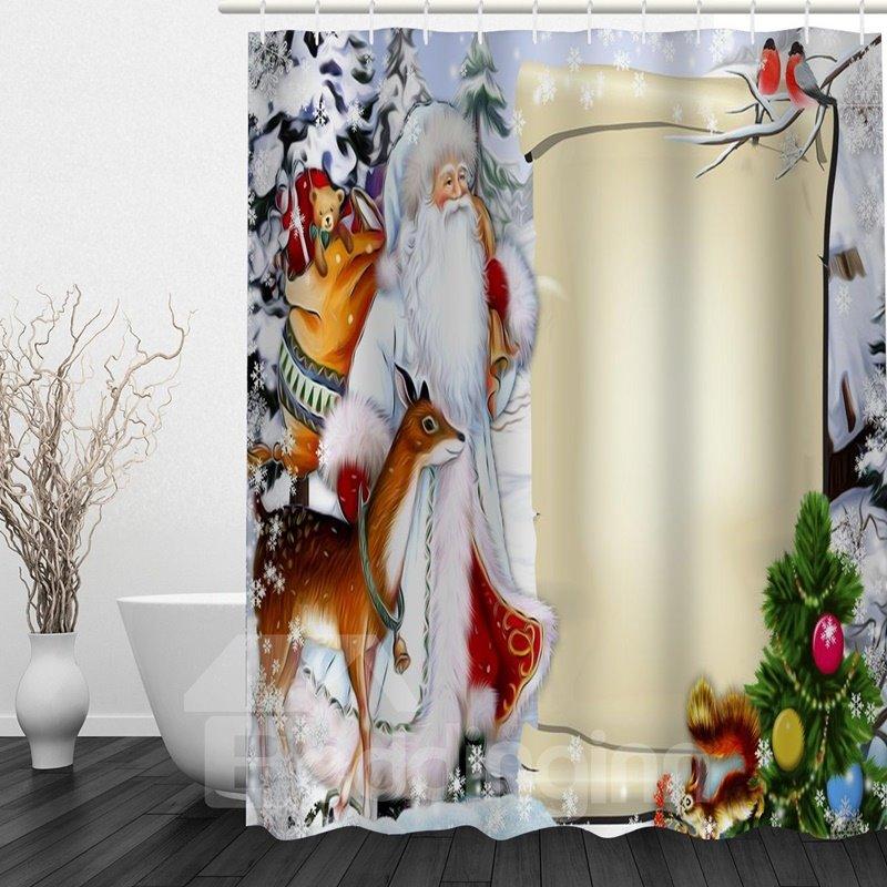 Cartoon Santa And Animals Printing Christmas Theme