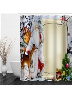 Cartoon Santa and Animals Printing Christmas Theme Bathroom 3D Shower Curtain