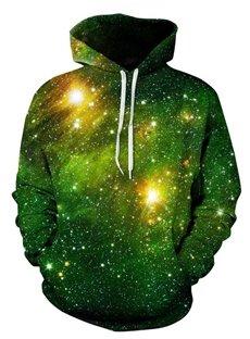 Cool Long Sleeve Green Galaxy Pattern 3D Painted Hoodie
