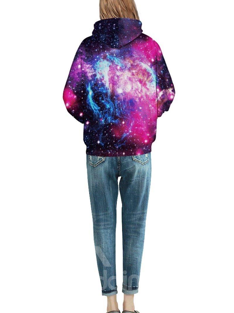Bright Long Sleeve Purple Galaxy Pattern 3D Painted Hoodie