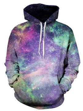 Long Sleeve Multicolor Galaxy Pattern 3D Painted Hoodie