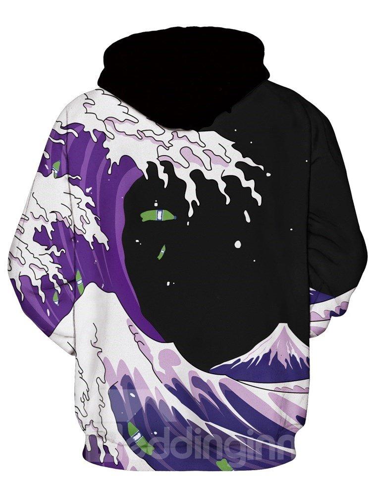 Long Sleeve Sea Wave Pattern Balck Background 3D Painted Hoodie
