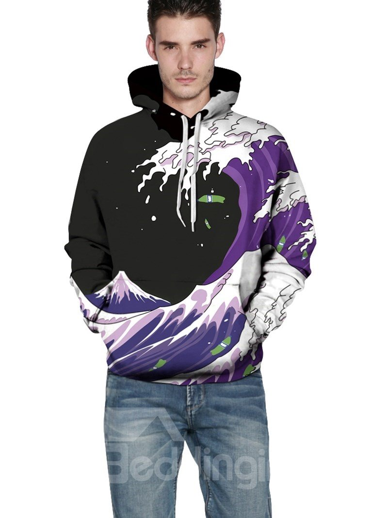 Long Sleeve Sea Wave Pattern Balck Background 3D Painted Hoodie