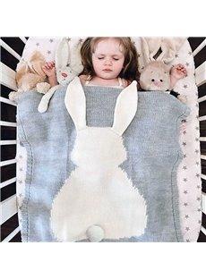 Pretty White Rabbit Pattern Knit Baby Blank Blanket