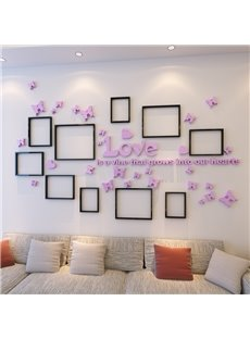 Romantic Modern Design Butterflies Decoration with Photo Frame 3D Wall Stickers