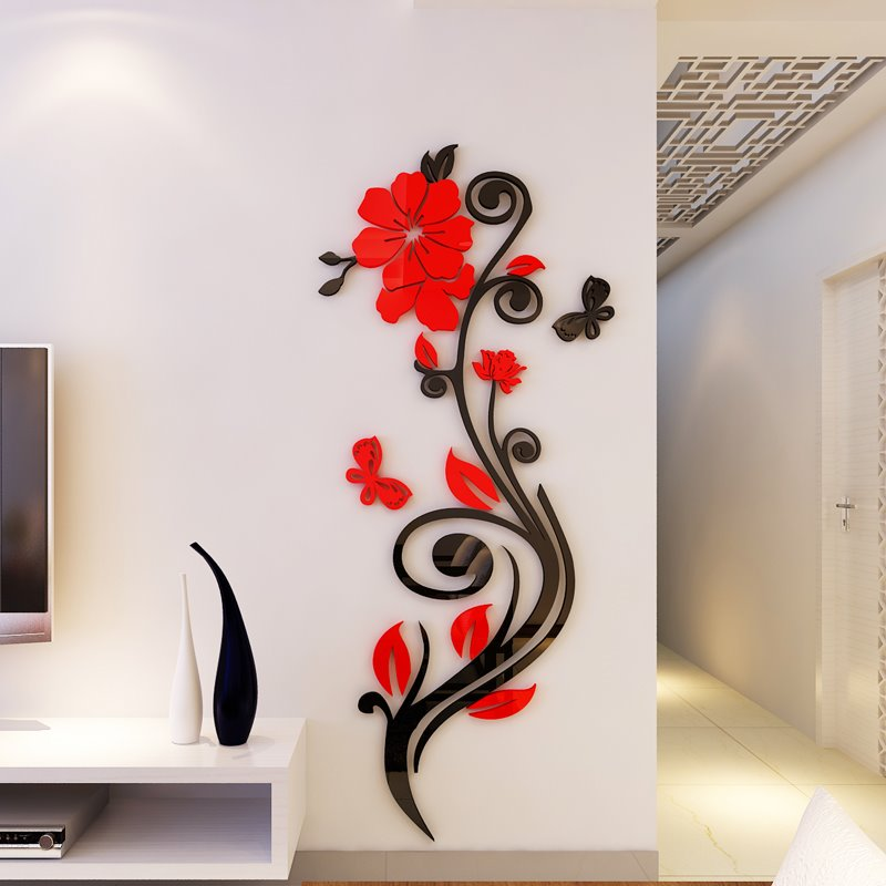 Elegant 75 Beautiful Acrylic Flower Shape Home Decorative 3D Wall Stickers