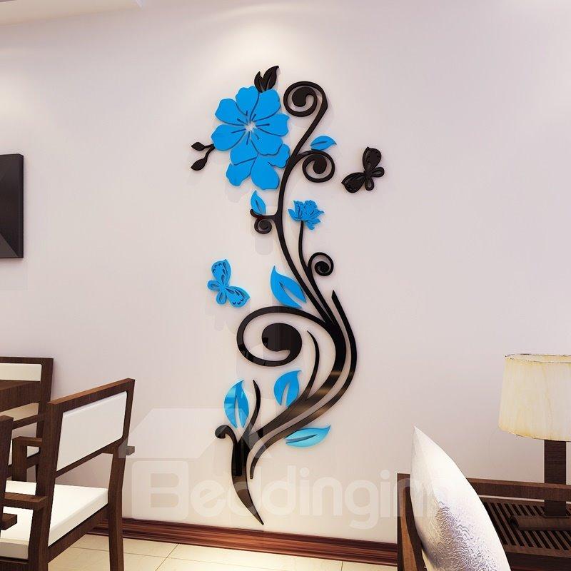 beautiful acrylic flower shape home decorative 3d wall stickers