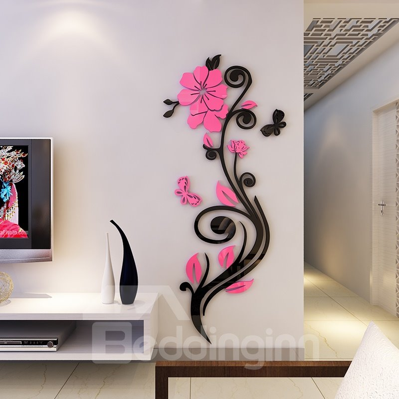 beautiful acrylic flower shape home decorative 3d wall