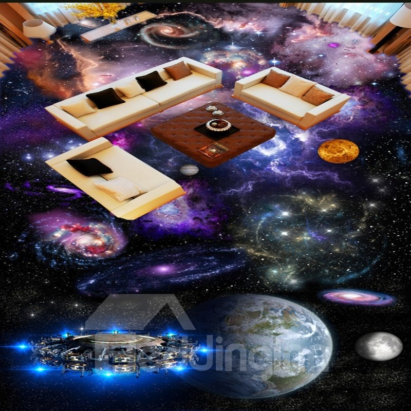 Colorful Modern Design Planets Print Home Decorative Waterproof 3D Floor Murals