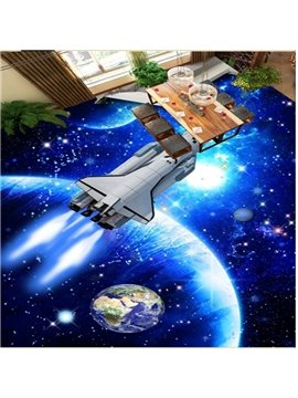 Fancy Creative Blue Spacecraft in Space Design Waterproof Decorative 3D Floor Murals