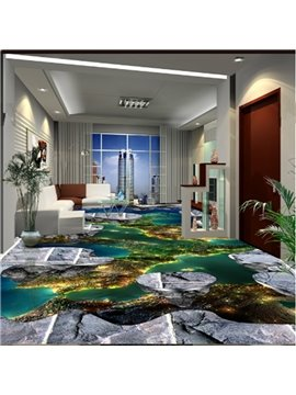 Fancy Natural Scenery Pattern Decorative Waterproof Splicing 3D Floor Murals