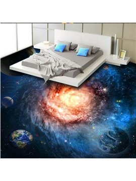 Fabulous Creative Planets in Galaxy Print Waterproof Splicing 3D Floor Murals