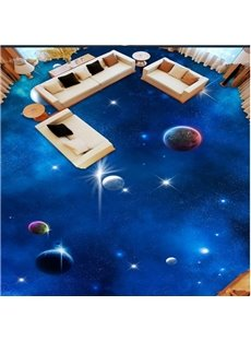 Blue Simple Style Planets in Galaxy Print Waterproof Splicing 3D Floor Murals