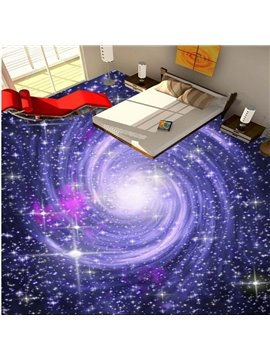 Romantic Purple Beautiful Galaxy Print Design Waterproof Splicing 3D Floor Murals
