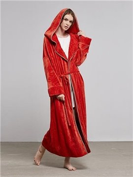 Warm Red Coral Fleece Women's Bathrobe with Hood