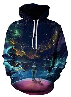Attractive Long Sleeve Boy with Dog Pattern 3D Painted Hoodie