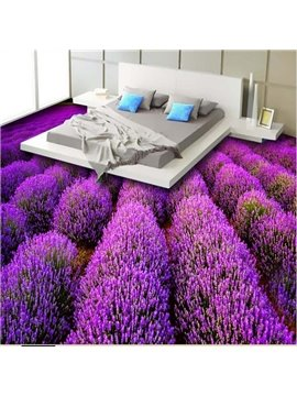 Gorgeous Purple Lavender Field Print Waterproof Splicing 3D Floor Murals