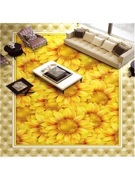 Active Sunflowers Design Home Decorative Waterproof Splicing 3D Floor Murals